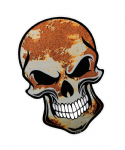 GOTHIC BIKER SKULL With Rust Rusty Paint Patina Motif External Vinyl Car Sticker 110x75mm